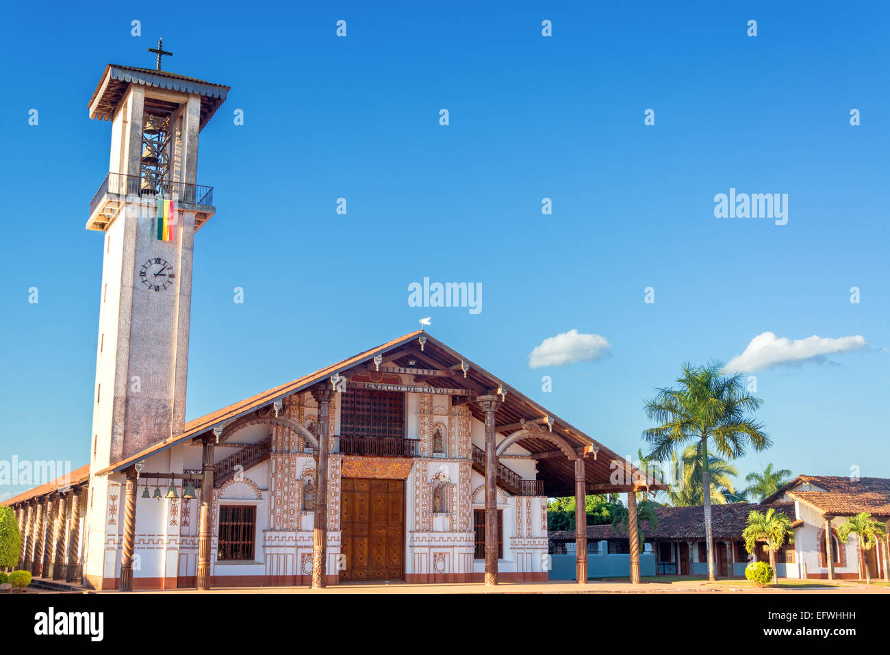UNESCO World Heritage Jesuit Mission church in San Ignacio, Bolivia - Stock Image