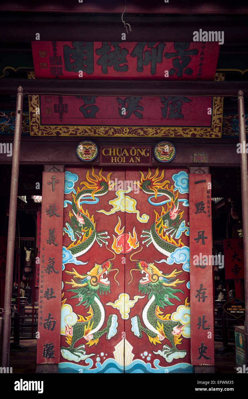 Entrance door to the Quan Cong temple (Chua Ong), Hoi An, Vietnam. - Stock Image