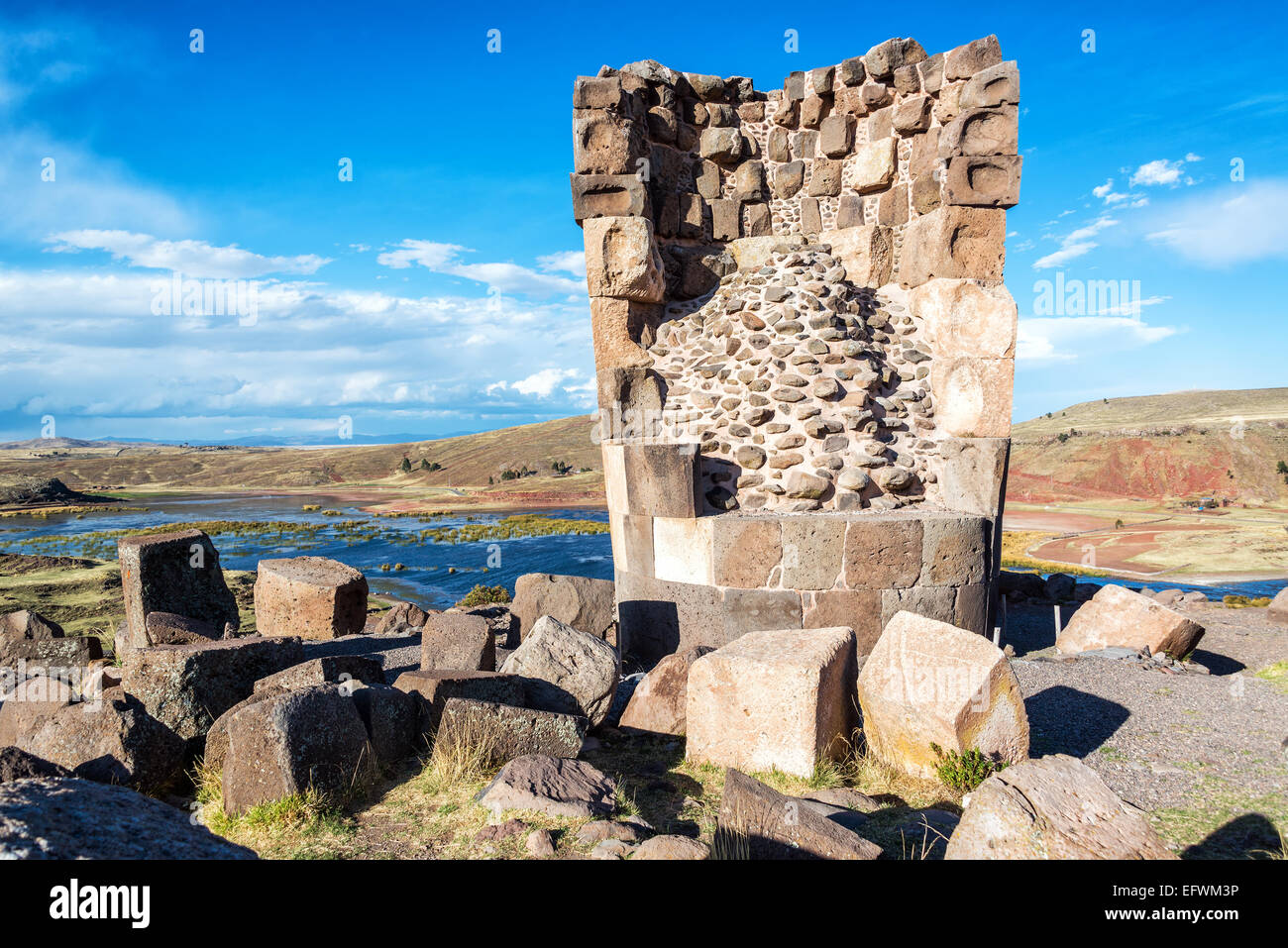 Funerary tower of the Colla people at Sillustani near Puno, Peru - Stock Image