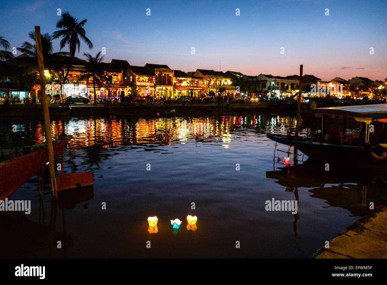Floating candles, Hoi An, Vietnam. - Stock Image