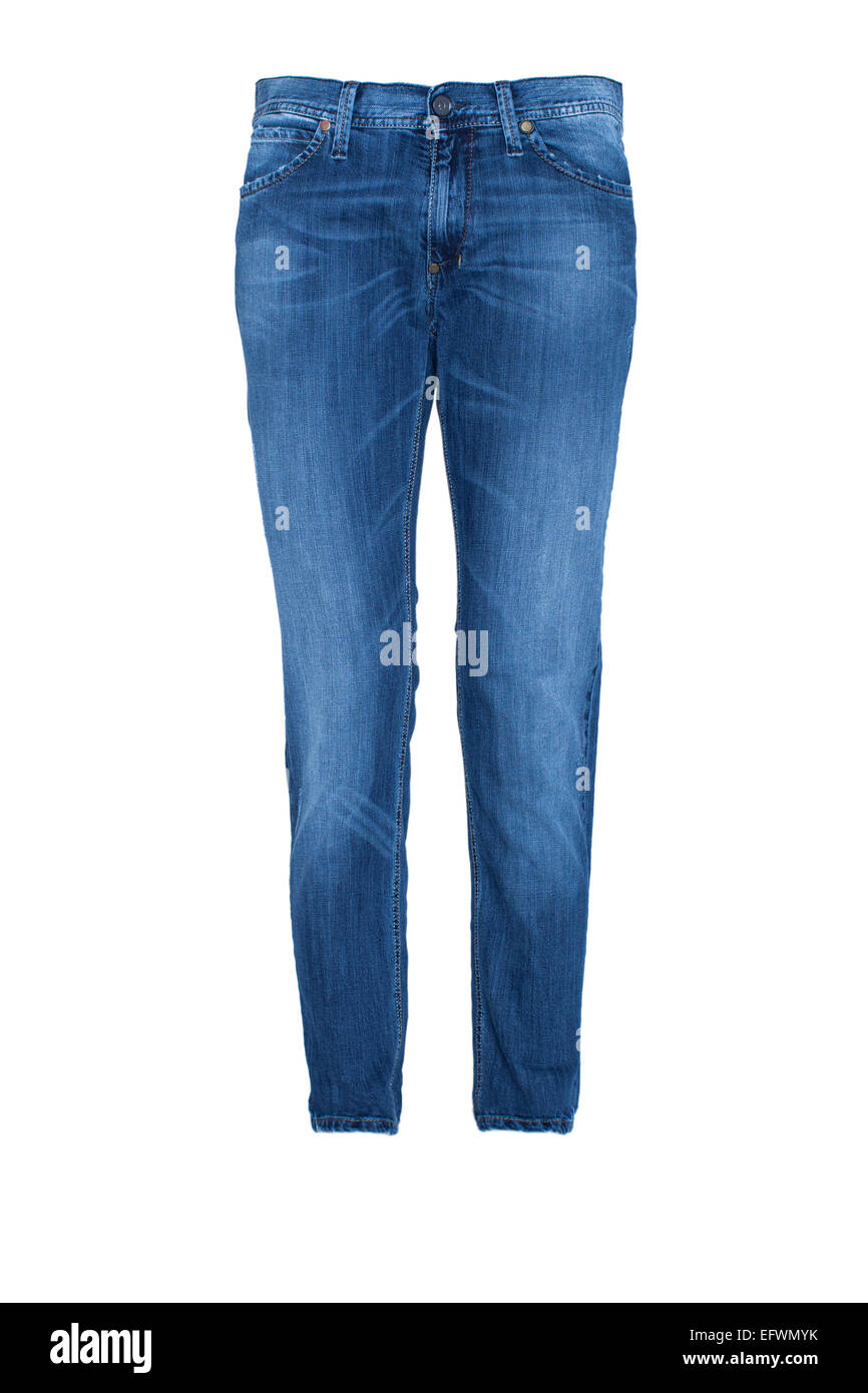 Pair of Blue Jeans Isolated on white - Stock Image