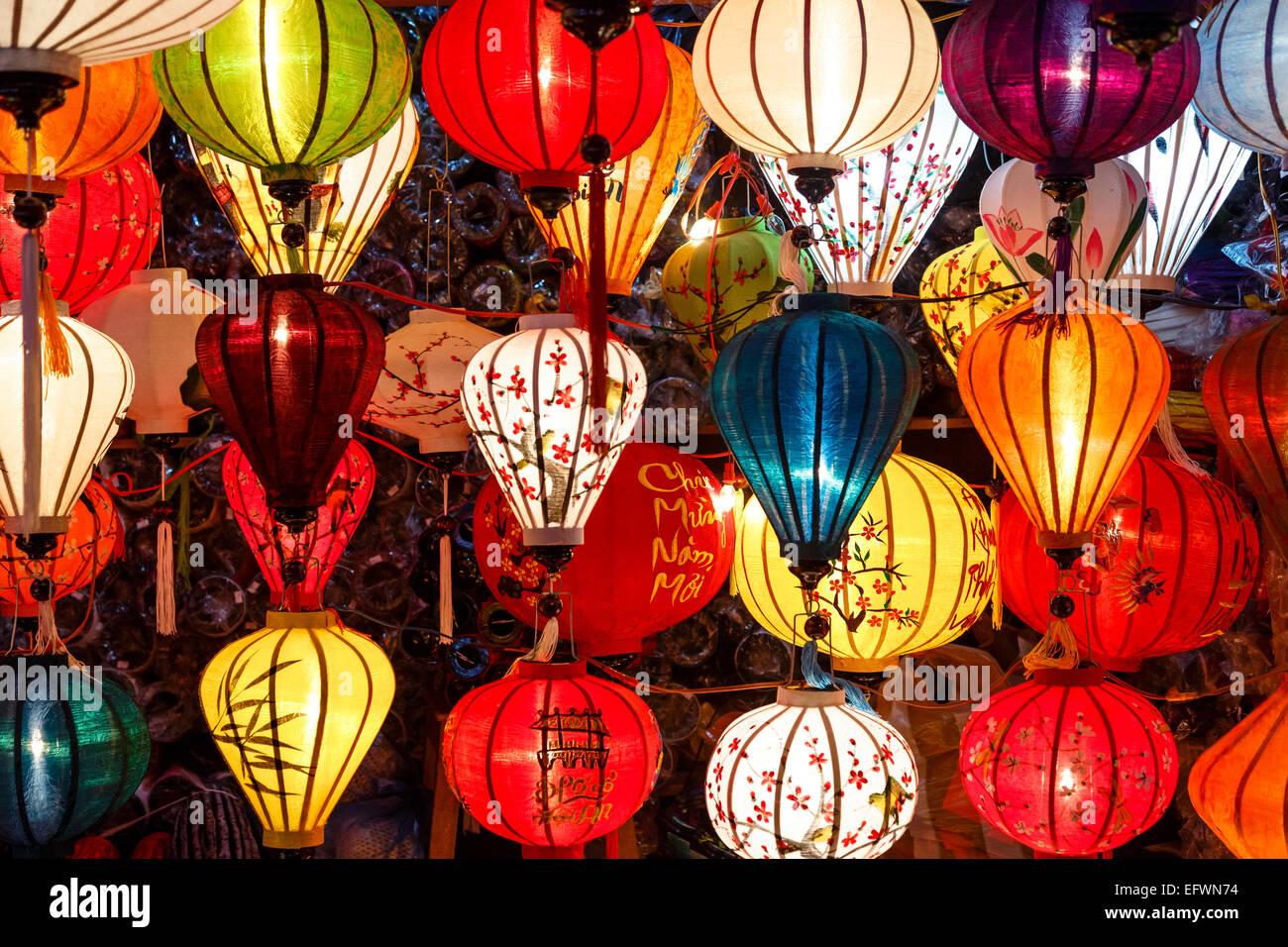 Traditional silk lanterns, Hoi An, Vietnam. Stock Photo