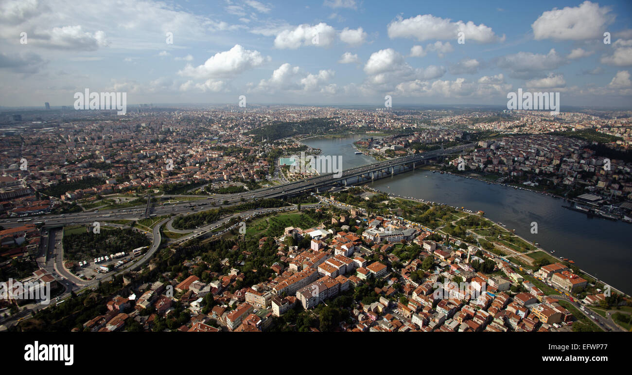 Aerial view of Golden Horn and TEM motorway Istanbul Turkey - Stock Image