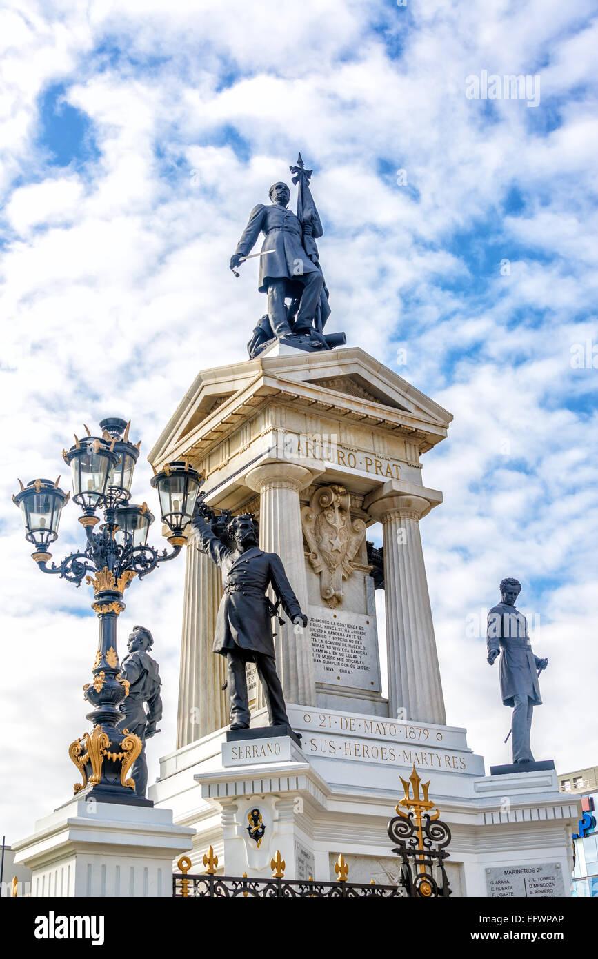 Monument in Valparaiso, Chile to the Chilean war hero Arturo Prat - Stock Image