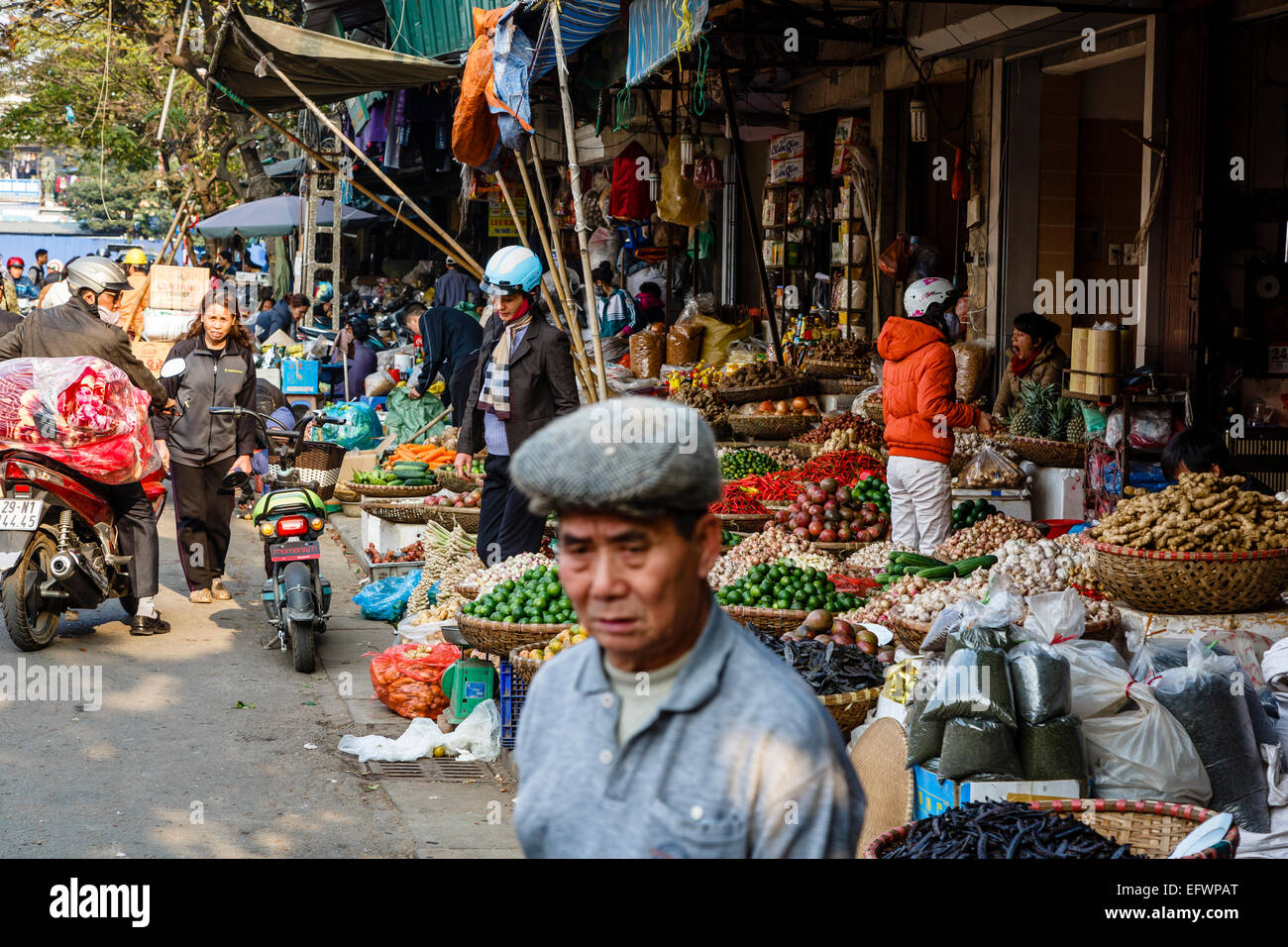 Market in the old quarter, Hanoi, Vietnam. Stock Photo