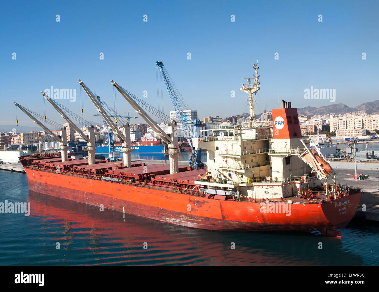 Cargo ship bulk carrier in the port of Malaga, Spain - Stock Image
