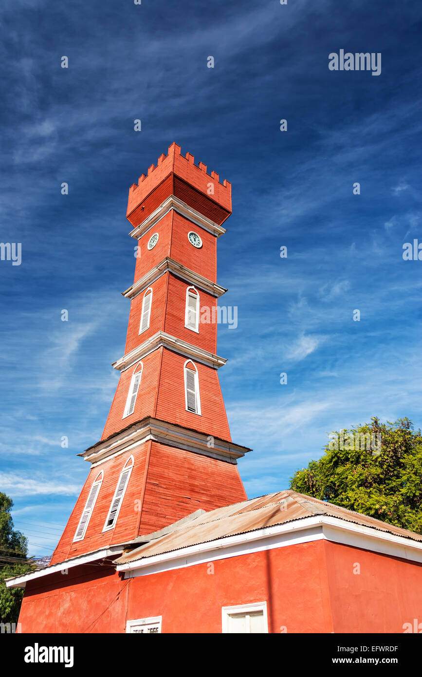 Bauer tower in the town of Vicuna in the Elqui Valley in Chile - Stock Image