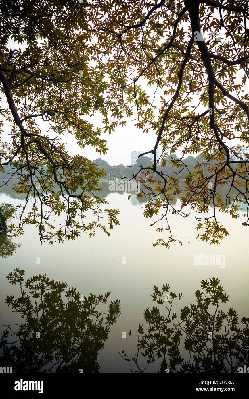 Hoan Kiem Lake in the old quarter, Hanoi, Vietnam. - Stock Image