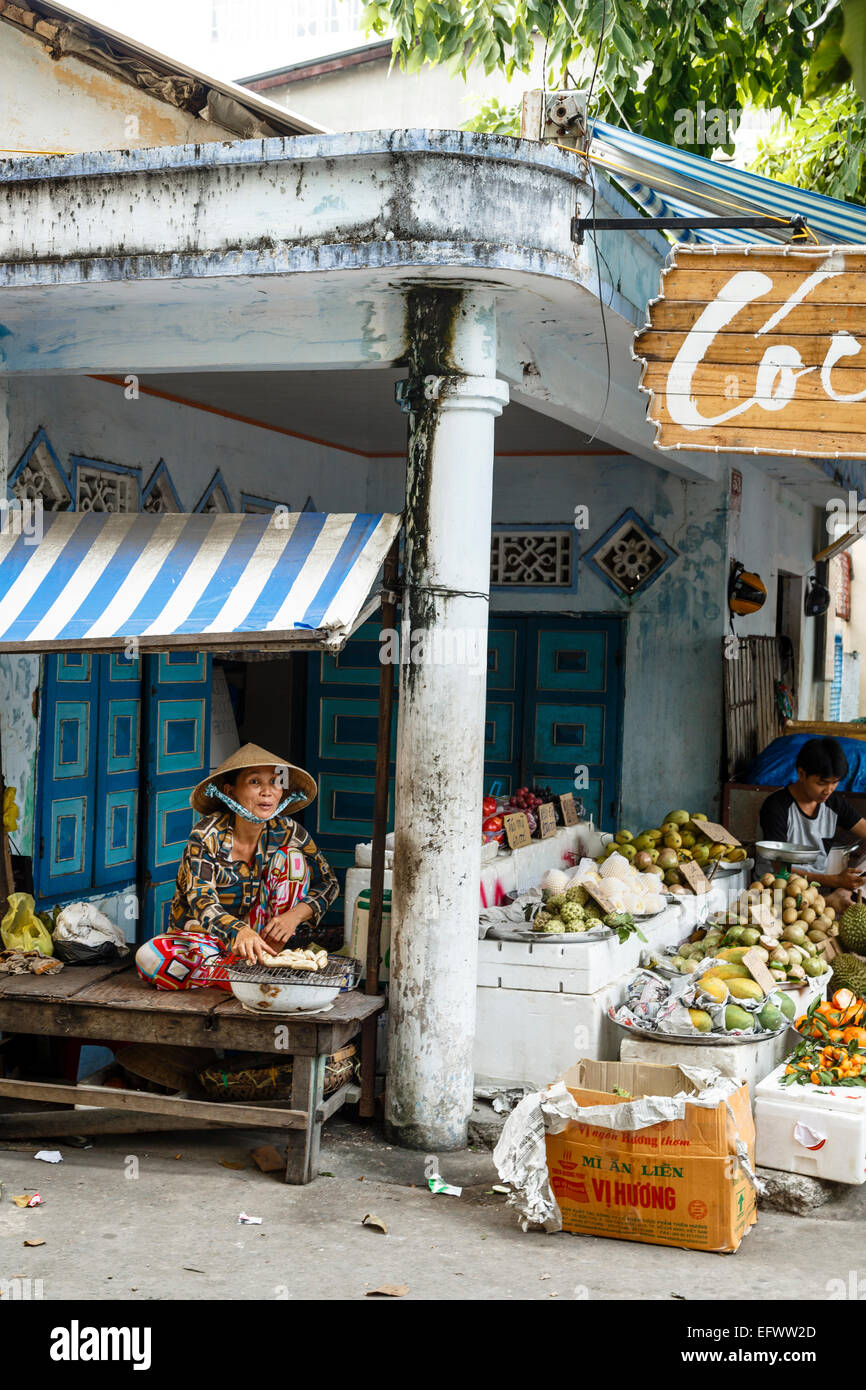 Food stall, Can Tho, Mekong Delta, Vietnam - Stock Image