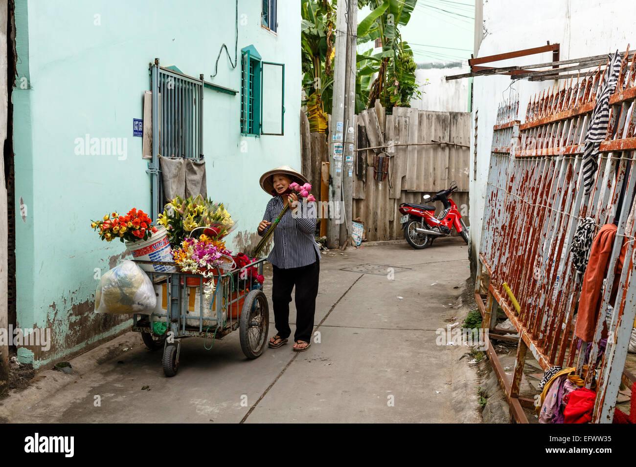 Flower Seller, Can Tho, Mekong Delta, Vietnam - Stock Image