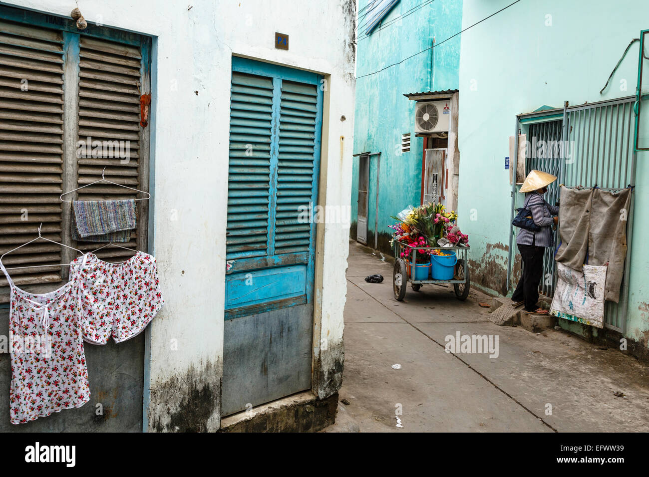 Flower Seller, Can Tho, Mekong Delta, Vietnam - Stock Image