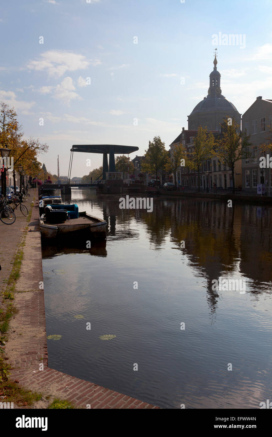 Oude Vest in Leiden, Netherlands with a view of the Marekerk Stock Photo