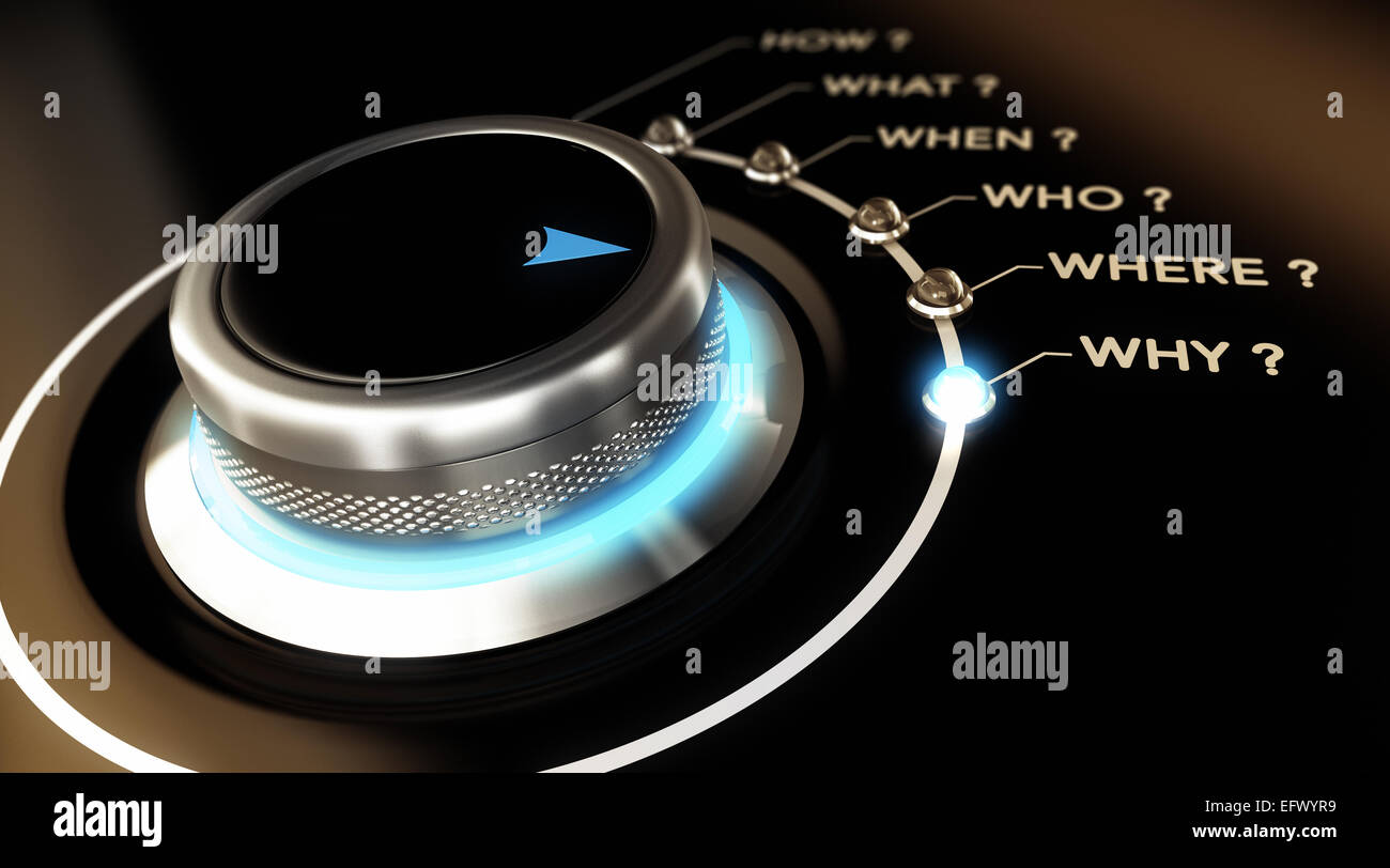 Switch button positioned on the word why, black background and blue light. Conceptual image for illustration of - Stock Image