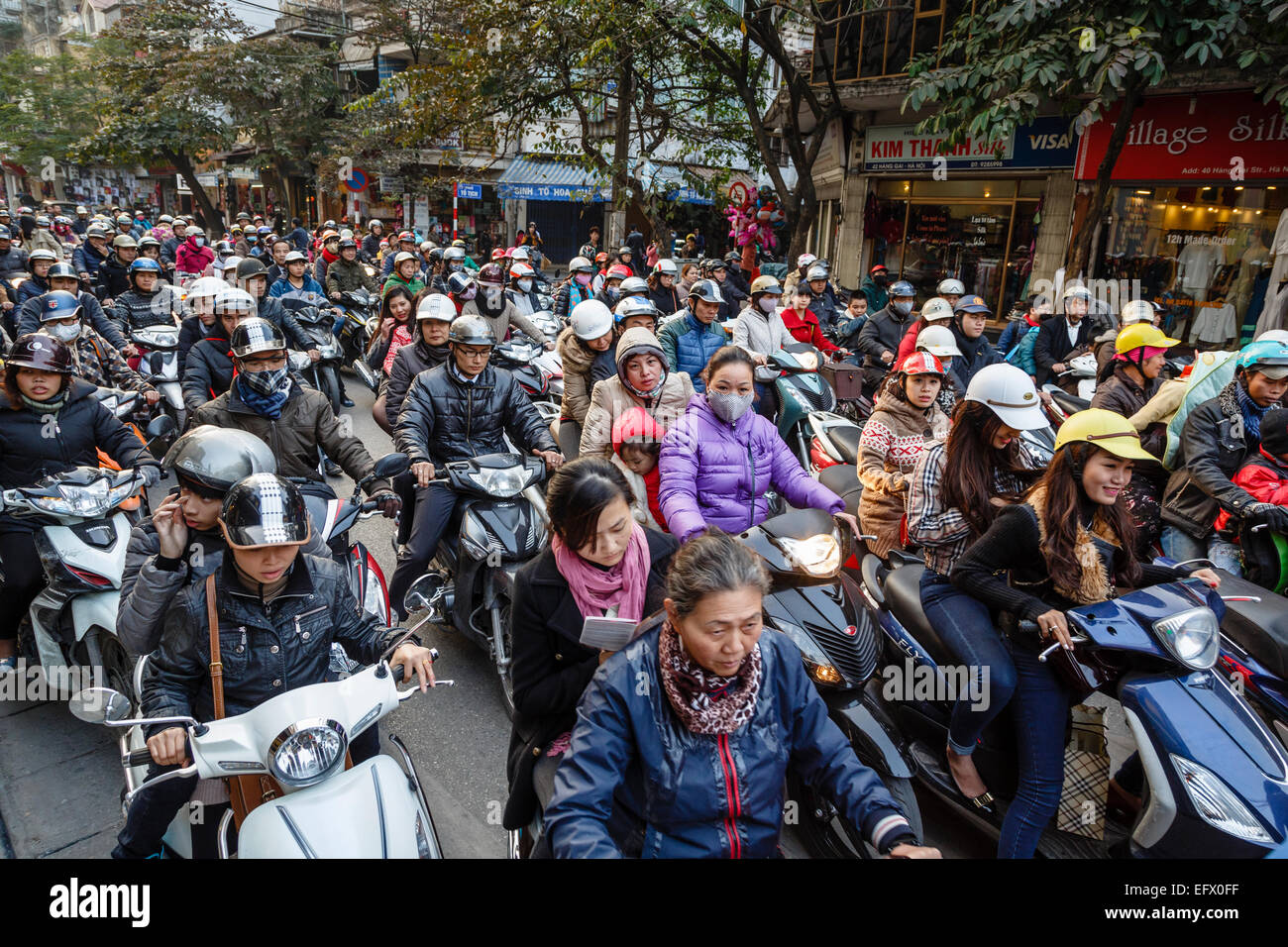 Busy traffic in the old quarter, Hanoi, Vietnam. - Stock Image