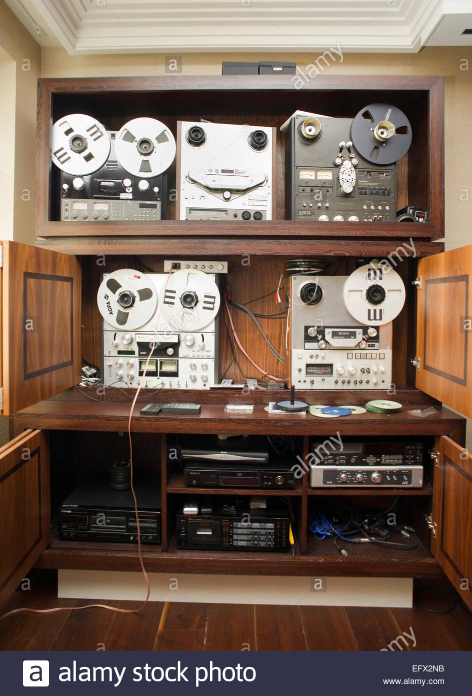 Tape Recorder Indoors Stock Photos Room Reel To Deck Player United Kingdom Great Britain British Uk Central
