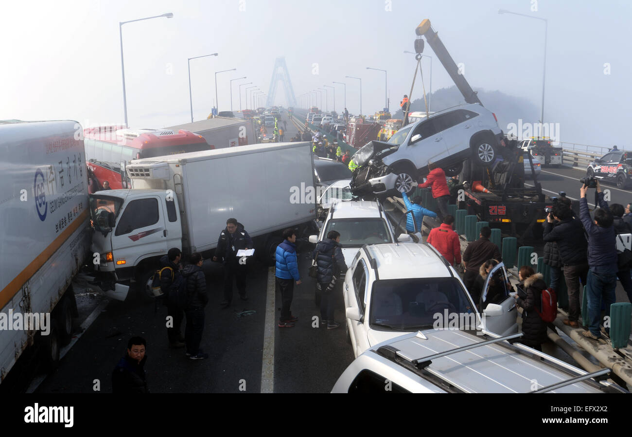 Seoul, South Korea  11th Feb, 2015  Firefighters work at the site of