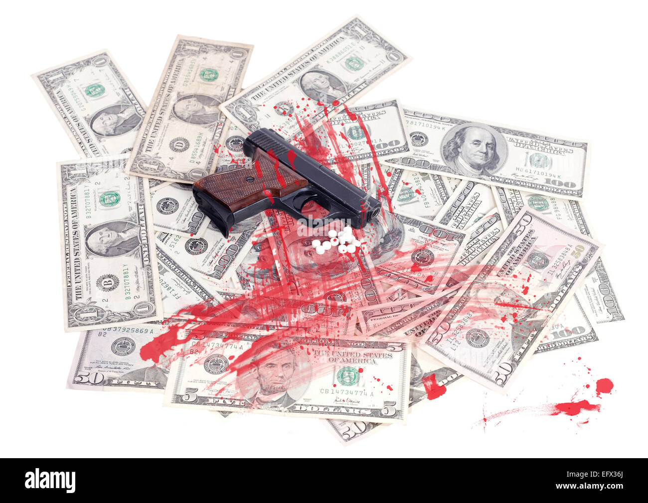 money earned by criminal background - Stock Image