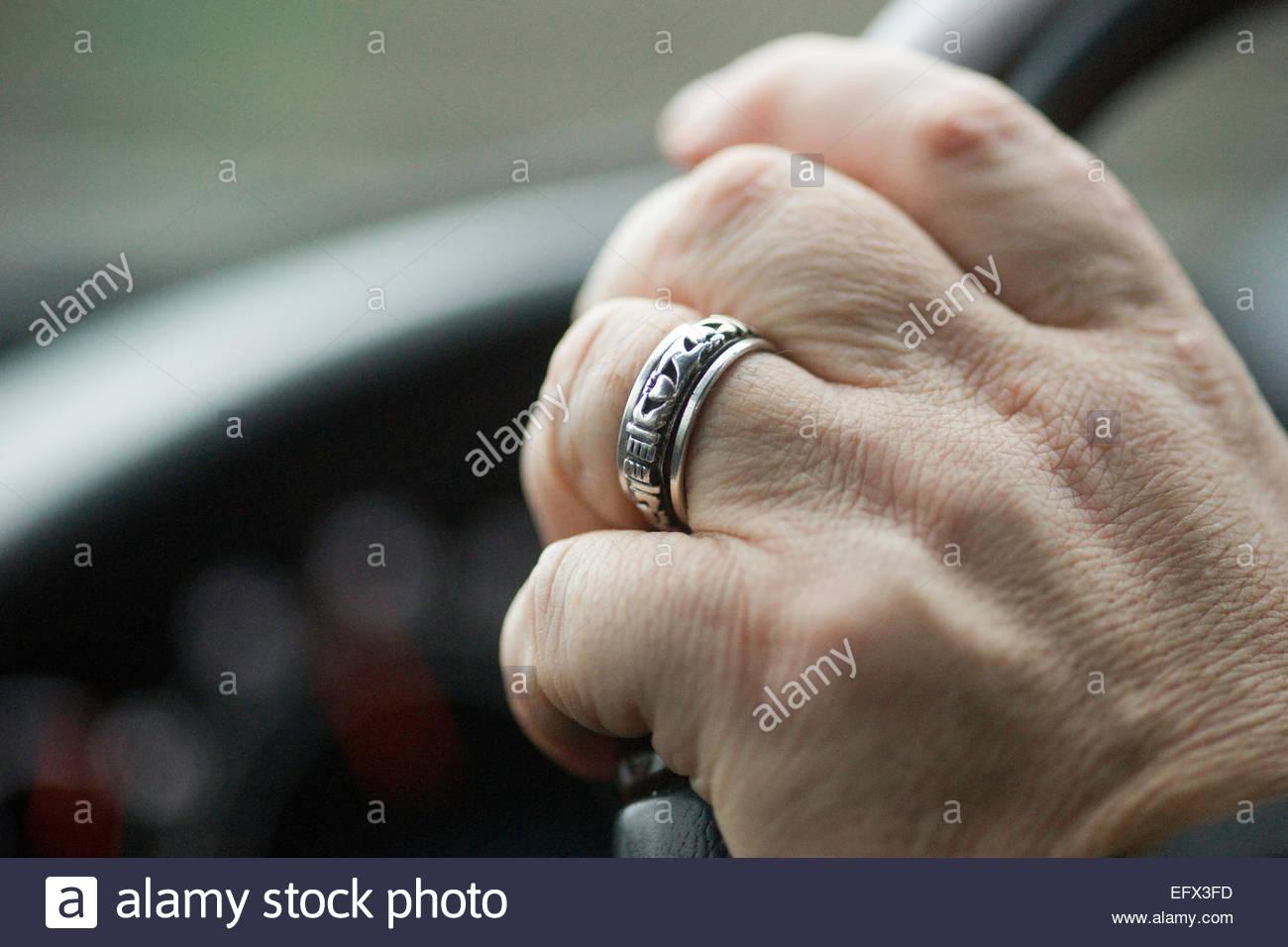 Wedding Ring Steering Wheel Mans Hand Mercedes Benz 500 Series Car