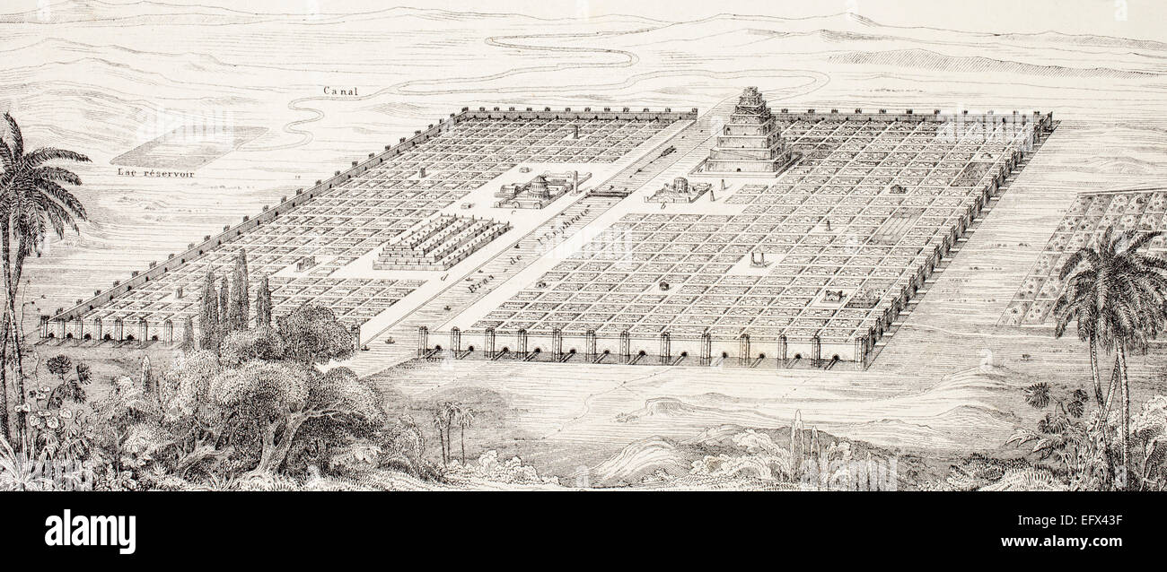 Plan of the city of Babylon, Mesopotamia, around the 5th century BC according to a description given by Herodotus. - Stock Image