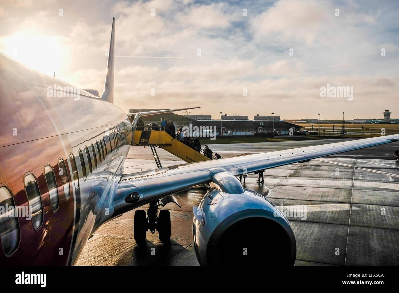 boarding a European flight from Edinburgh - Stock Image