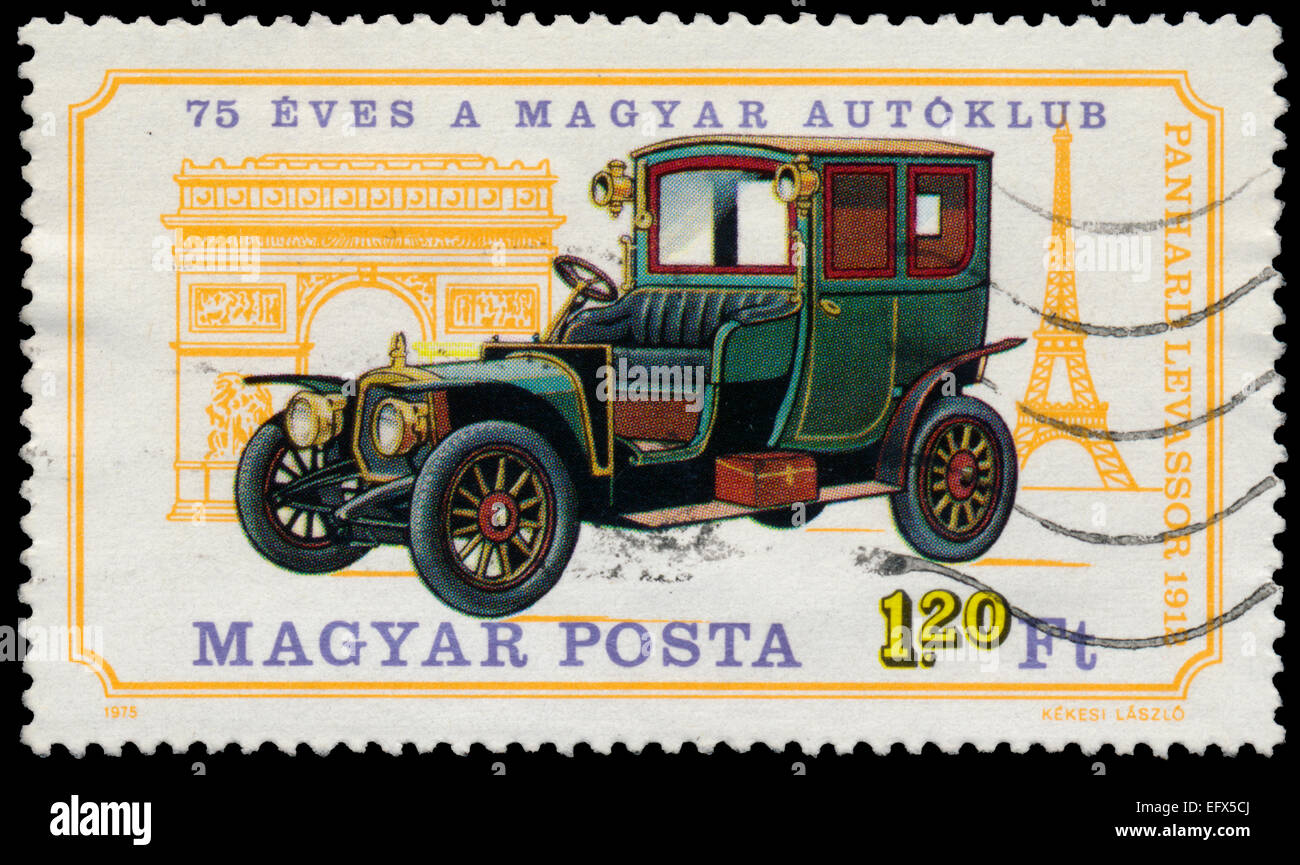 HUNGARY - CIRCA 1975: A stamp printed in Hungary shows retro car Panhard Levassor, circa 1975 - Stock Image