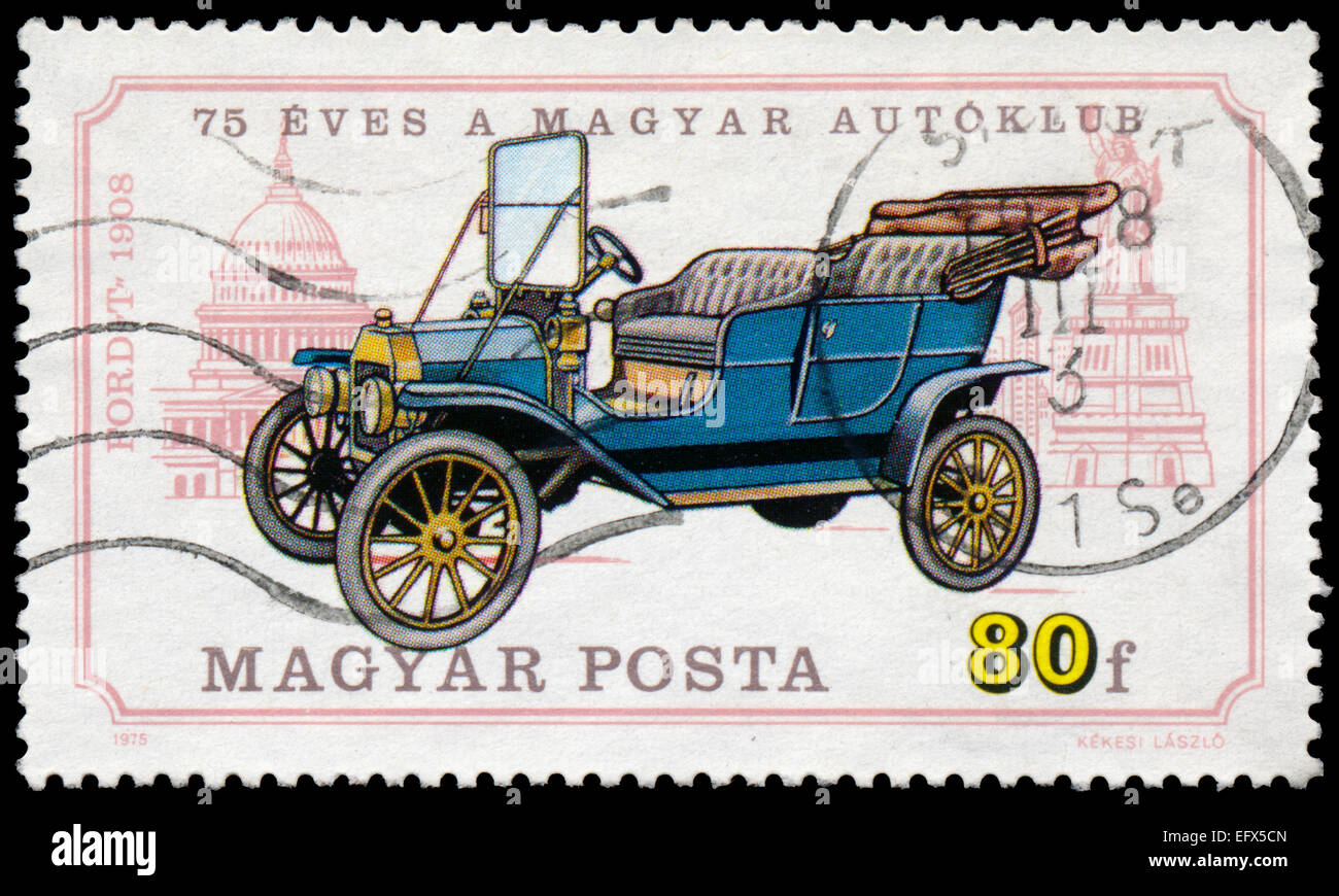 HUNGARY - CIRCA 1975: A stamp printed in Hungary shows retro car Ford T, circa 1975 - Stock Image
