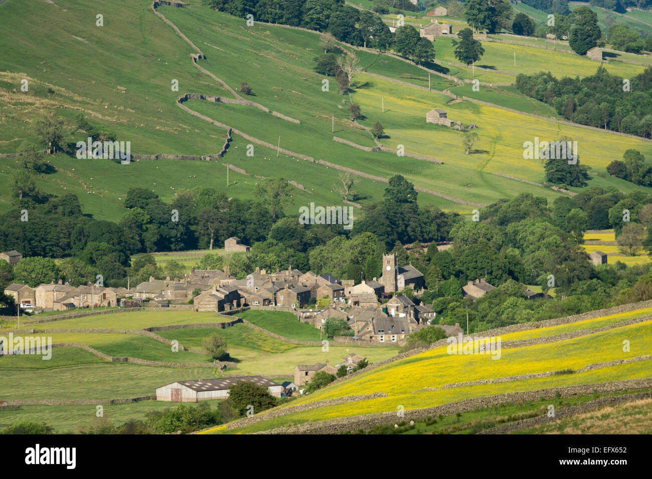 Village of Muker in Swaledale, early summer. Yorkshire Dales National Park, UK - Stock Image