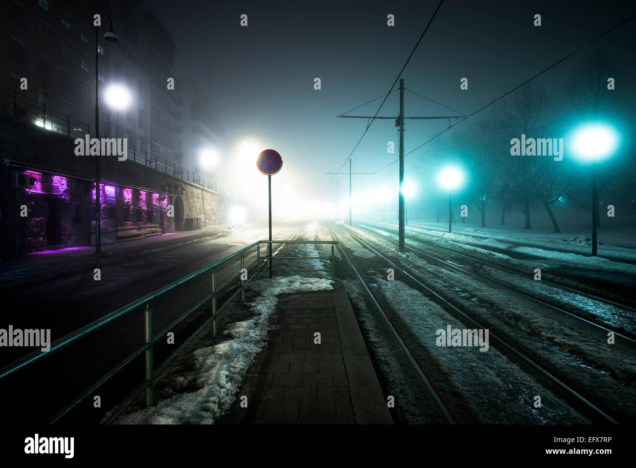 Foggy urban landscape from the City hall square area in Oslo. - Stock Image