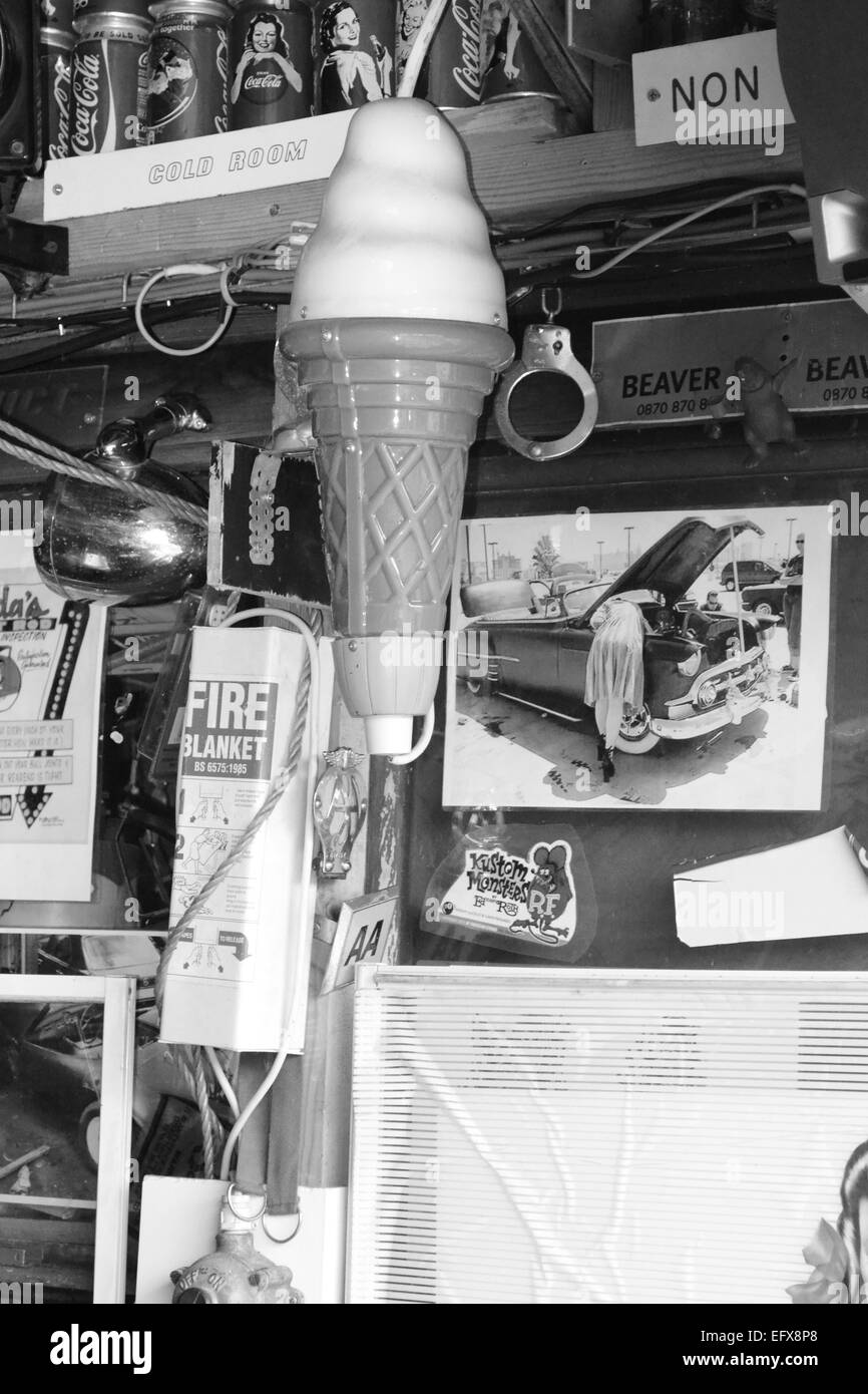 collectibles, garage, ice cream, black and white, junk - Stock Image