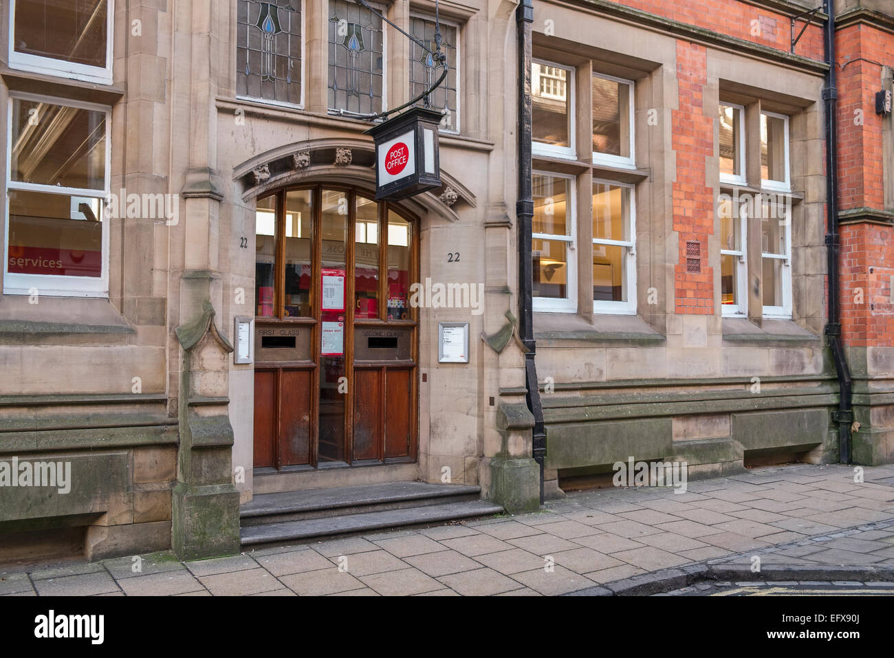 York a main Post Office First Class and Second Class postbox postboxes post box boxes plus sign logo. - Stock Image