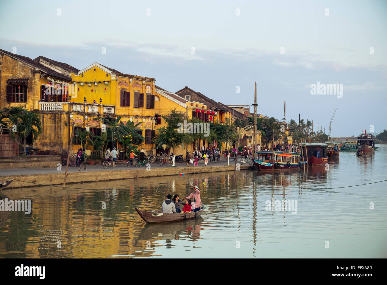 Boats at the Thu Bon river, Hoi An, Vietnam. - Stock Image