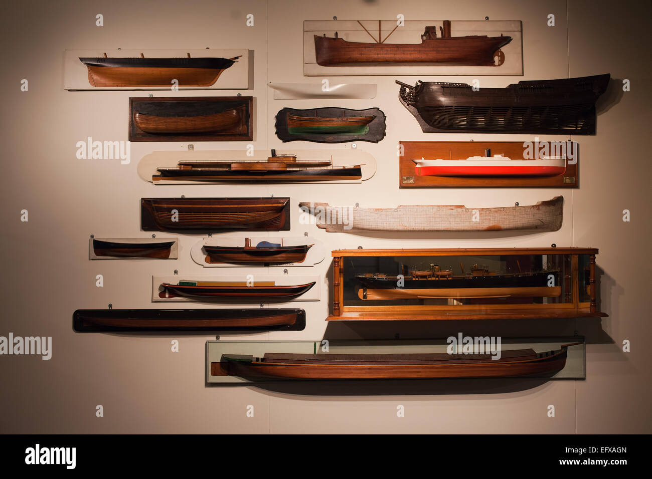 Ship and barges models in Maritime Museum in Rotterdam, Holland, Netherlands. - Stock Image