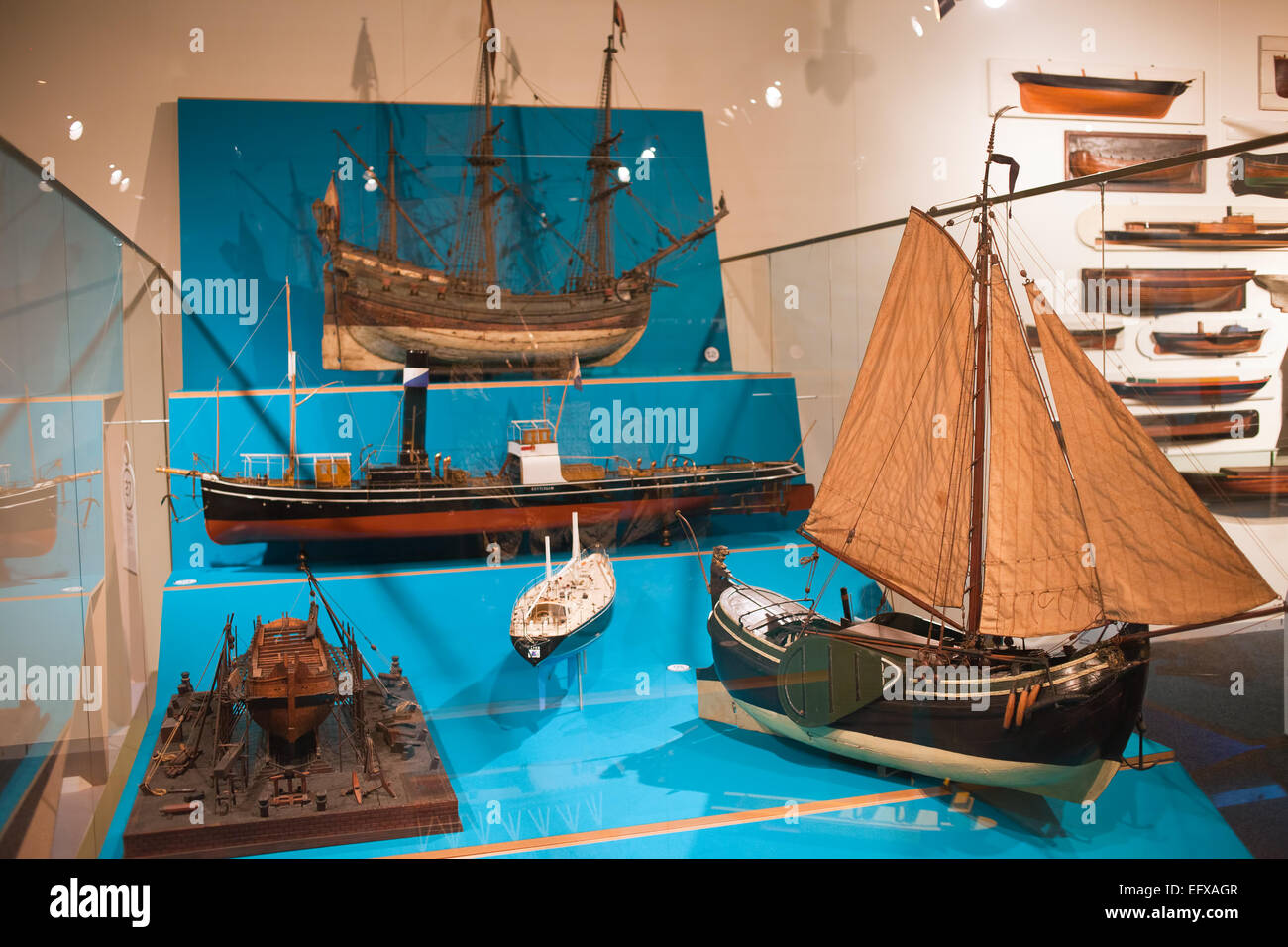 Ship models in Rotterdam Maritime Museum, Holland, Netherlands. - Stock Image