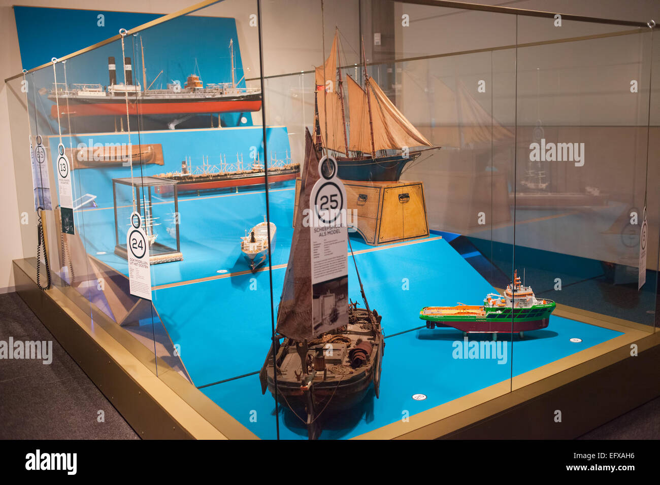 Ship models in Maritime Museum in Rotterdam, Holland, Netherlands. - Stock Image