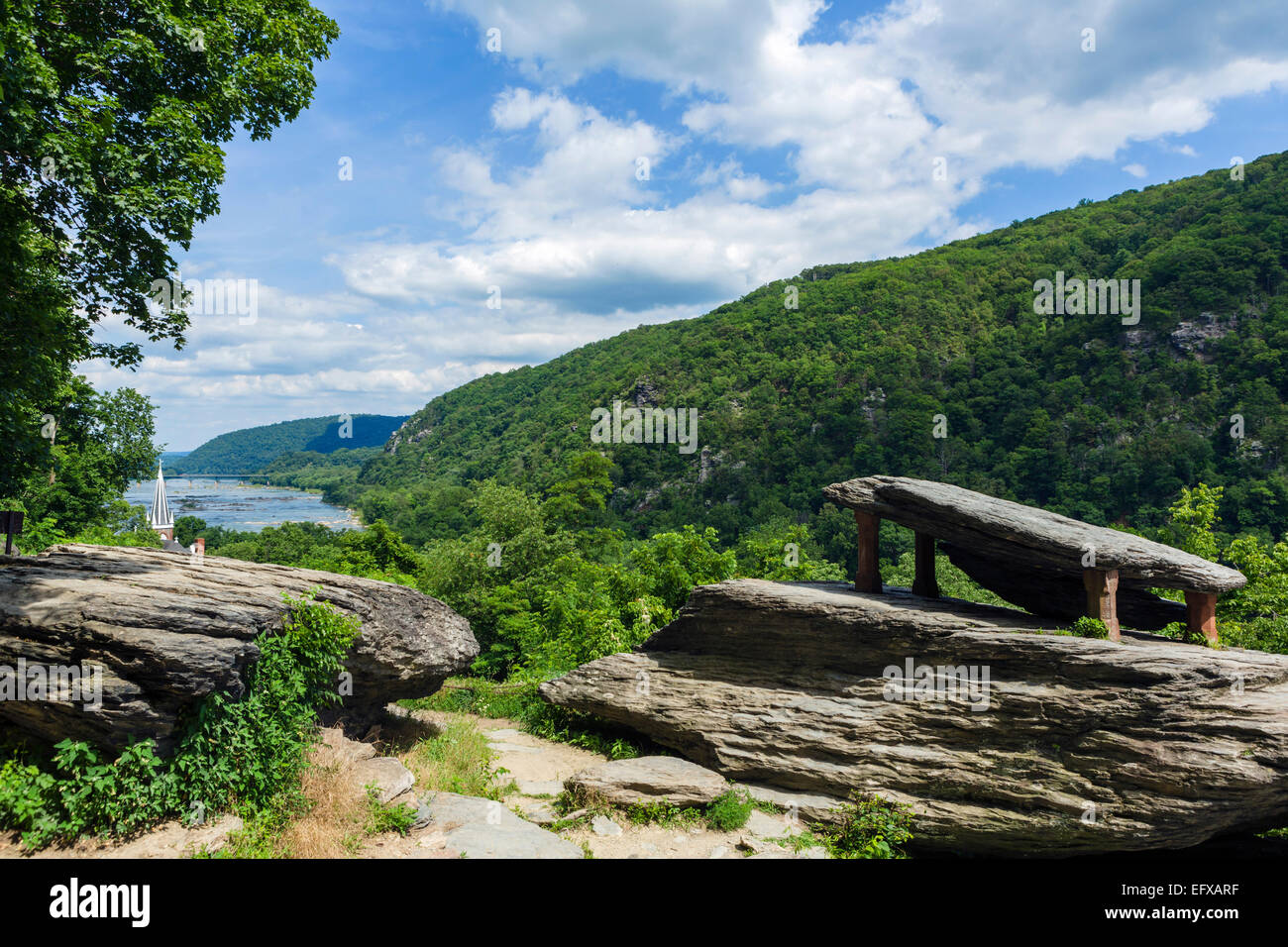 View over the Potomac River at Jefferson Rock on the Appalachian Trail, Harpers Ferry National Historic Park, West - Stock Image