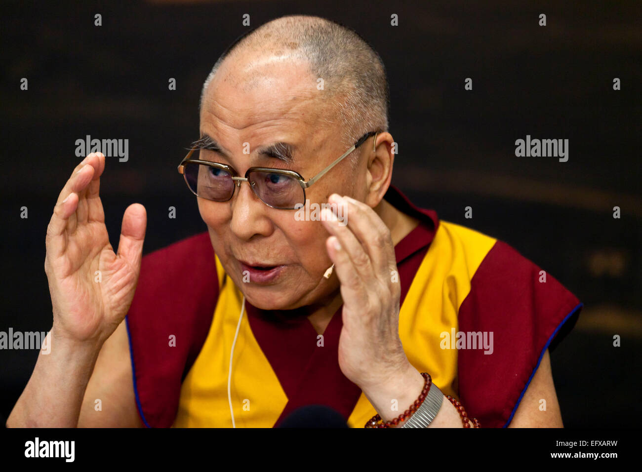 Copenhagen, Denmark. 11th February, 2015. Dalai Lama begins his 2 days visit to Denmark with a press conference. - Stock Image