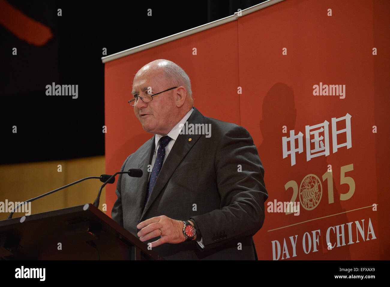 (150211) -- CANBERRA, Feb. 11, 2015 (Xinhua) -- Australian Governor-General Peter Cosgrove speaks before the 'Day - Stock Image