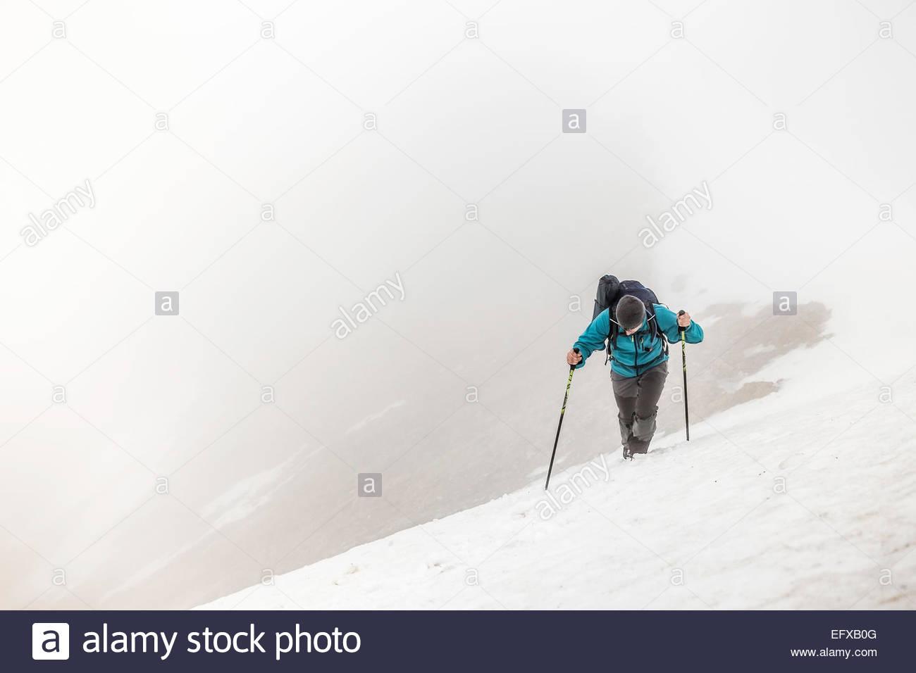 Man mountain trekking in mist, Bavarian Alps, Oberstdorf, Bavaria, Germany - Stock Image