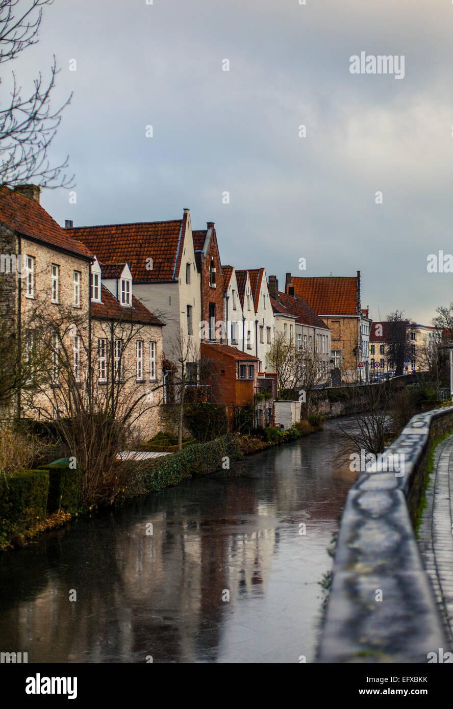 Frozen canal in Brugge, Belgium - Stock Image