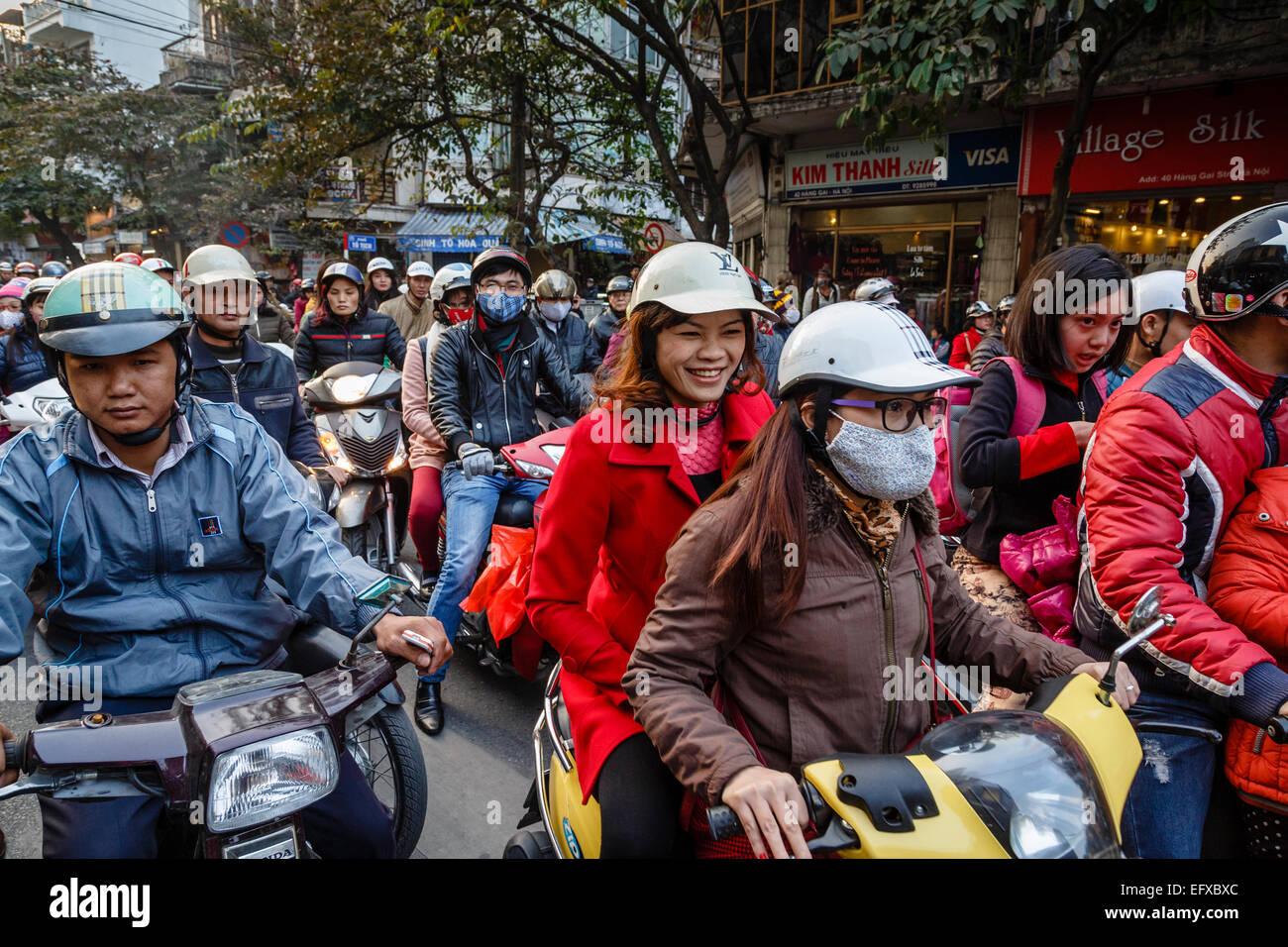 Busy traffic in the old quarter, Hanoi, Vietnam. - Stock Image