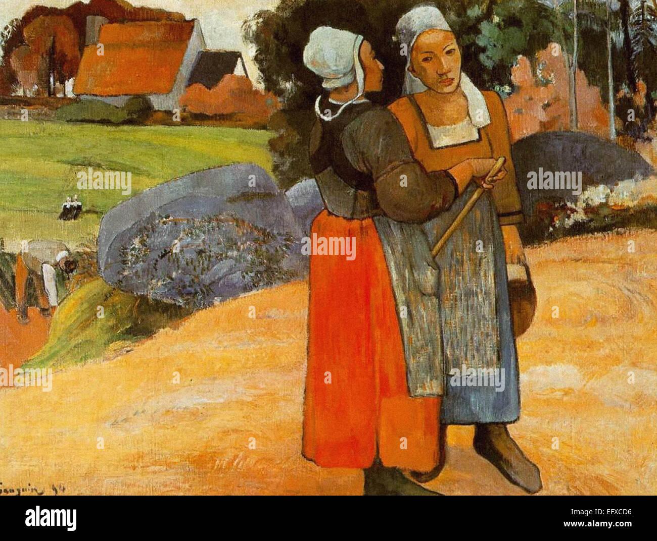 Paul Gauguin  Breton Peasant Women - Stock Image