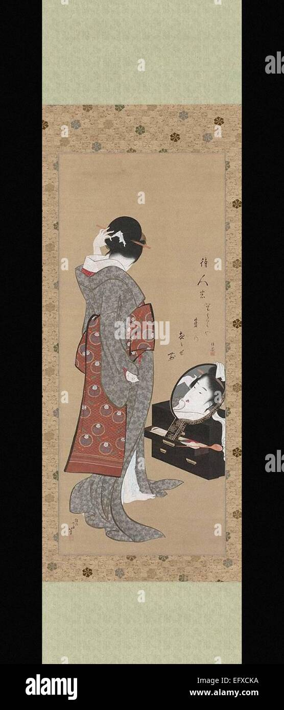 Katsushika Hokusai  Woman Looking at Herself in a Mirror - Stock Image
