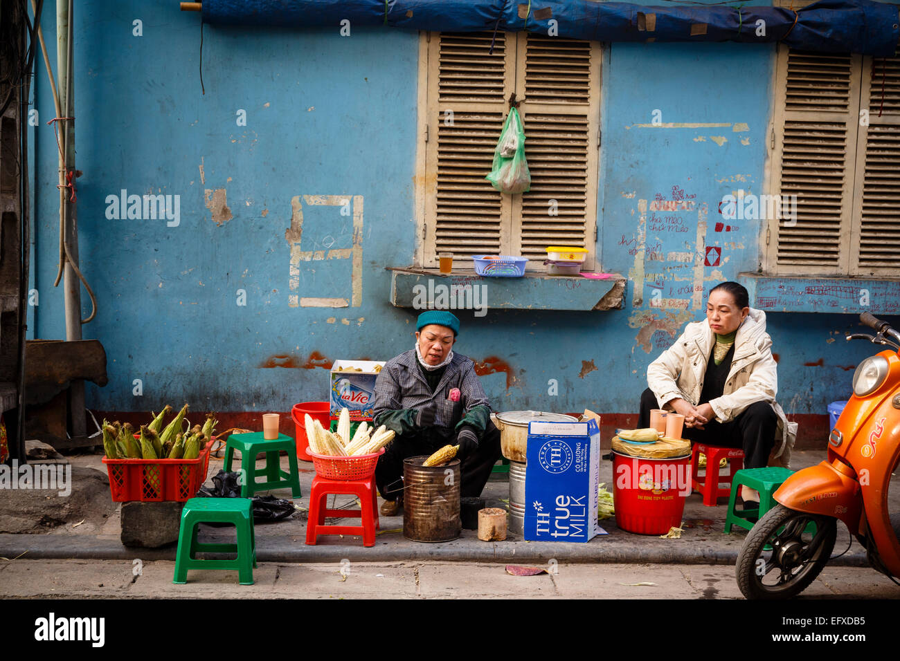 Street scene in the old quarter, Hanoi, Vietnam. - Stock Image