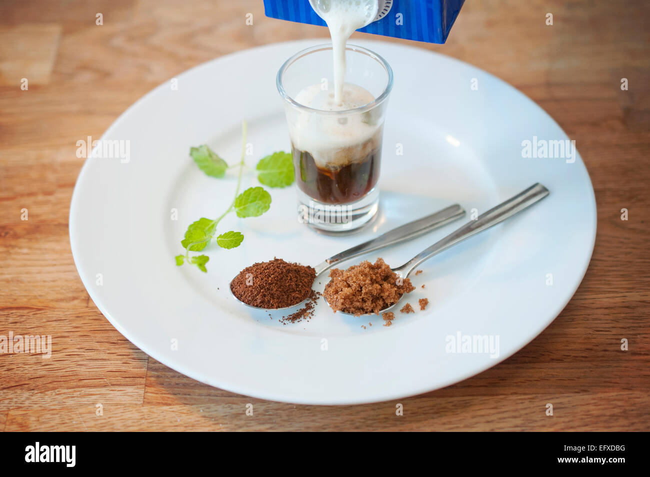 Homemade specialty coffee beverage with fresh mint, brown sugar and frothy soy milk. Serve chilled over ice or warm. Stock Photo