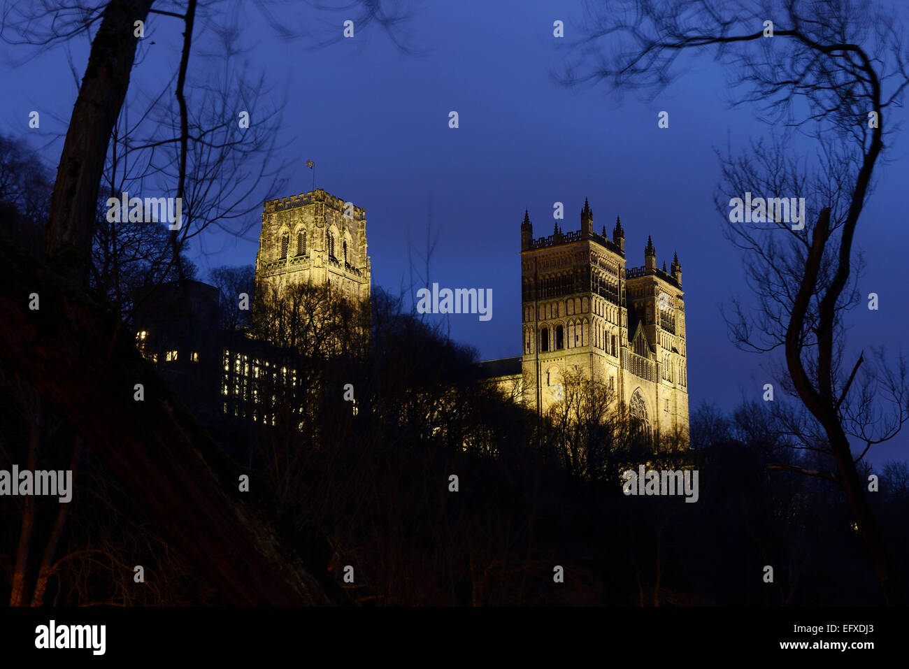 Durham Cathedral lit up at night - Stock Image