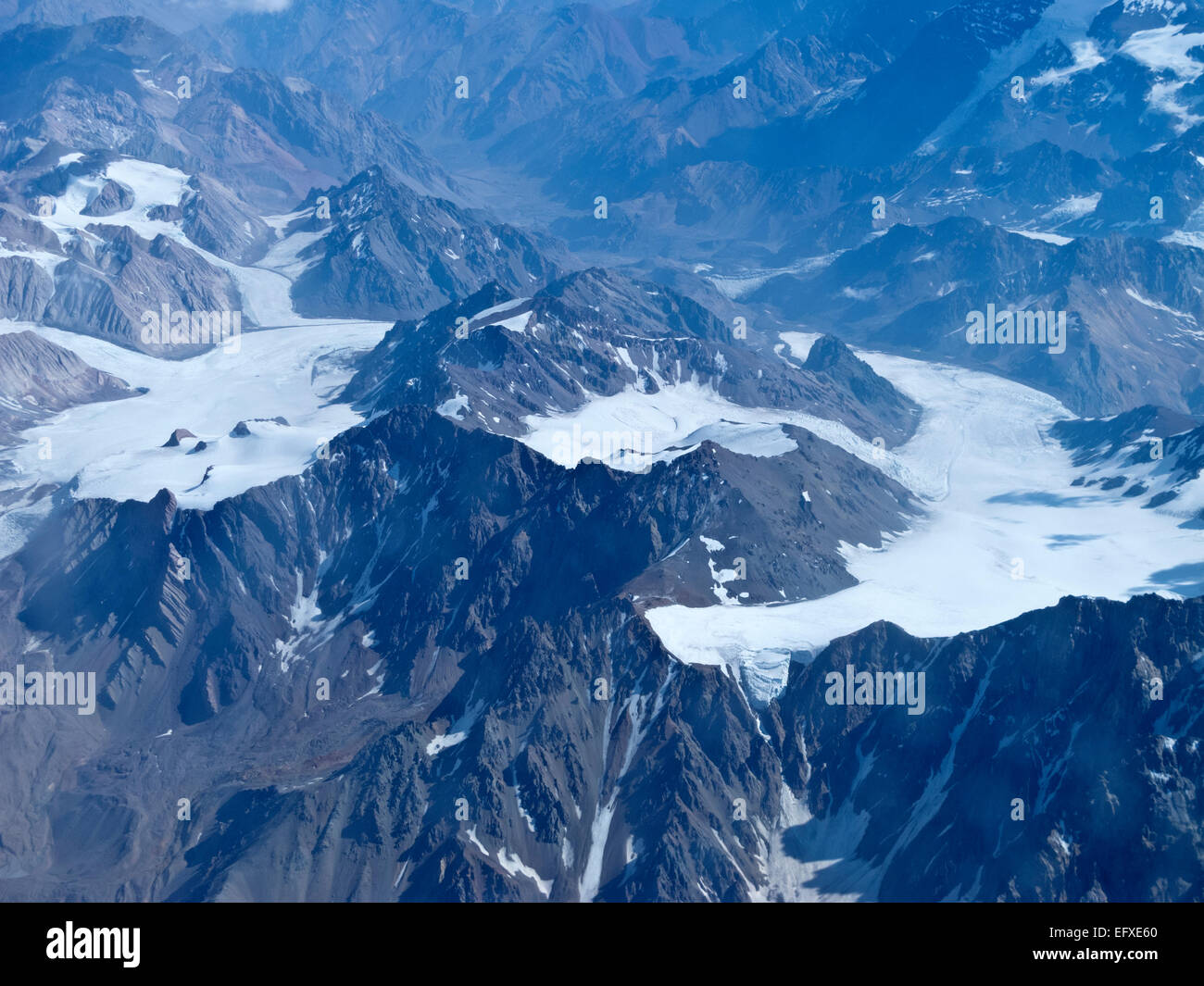 Range of the Andes between Argentina and Chile. Aerial Photography. - Stock Image