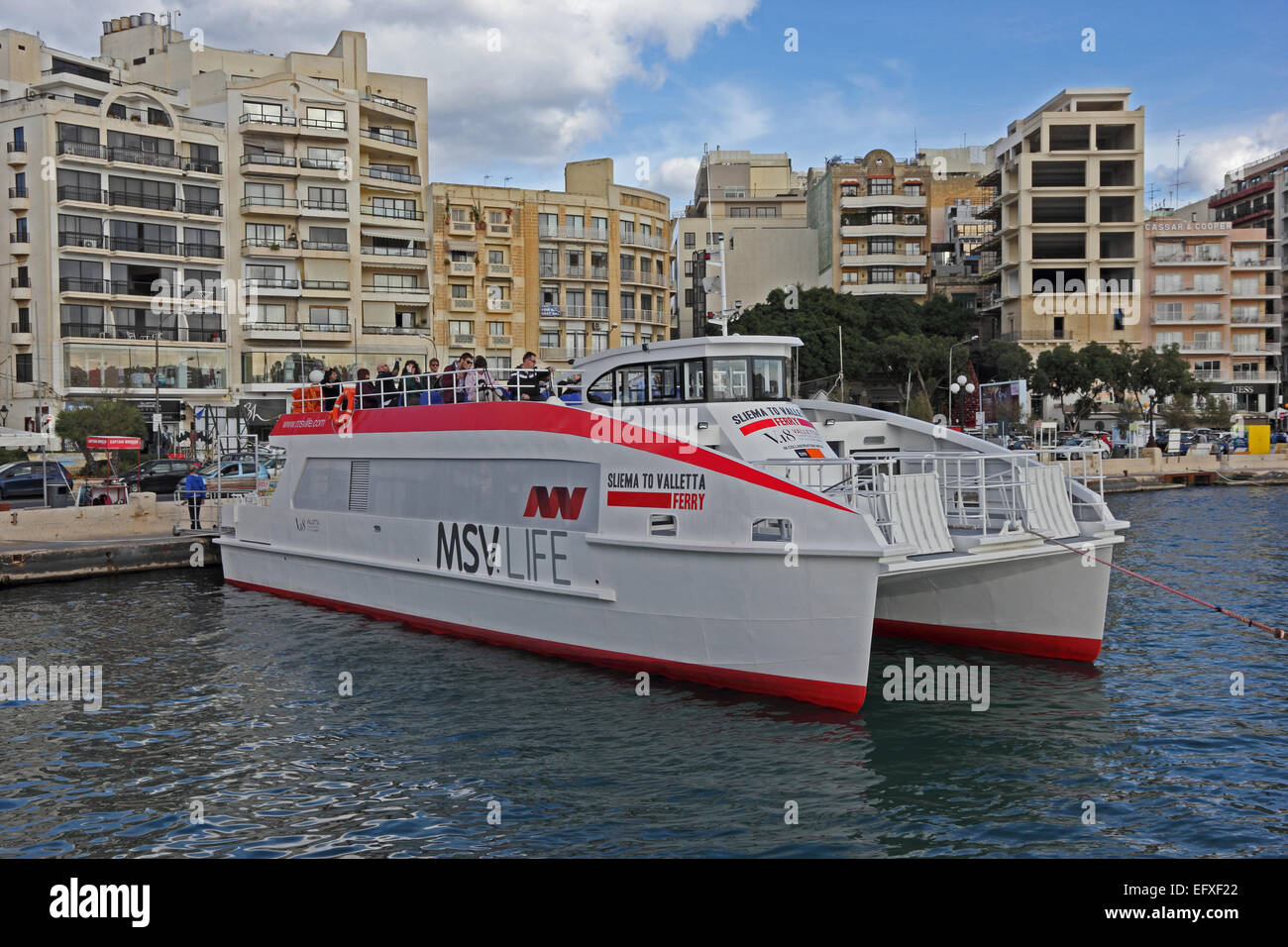 Top Cat 1, Sliema to Valletta ferry, operated by MSV Life, moored in Sliema, Malta - Stock Image