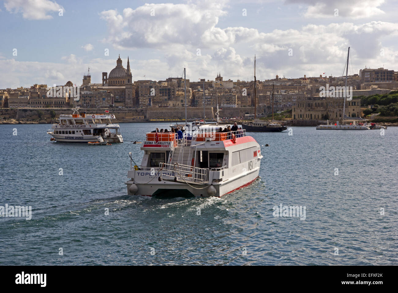 Top Cat 1, Sliema to Valletta ferry, operated by MSV Life, leaving Sliema, Malta - Stock Image