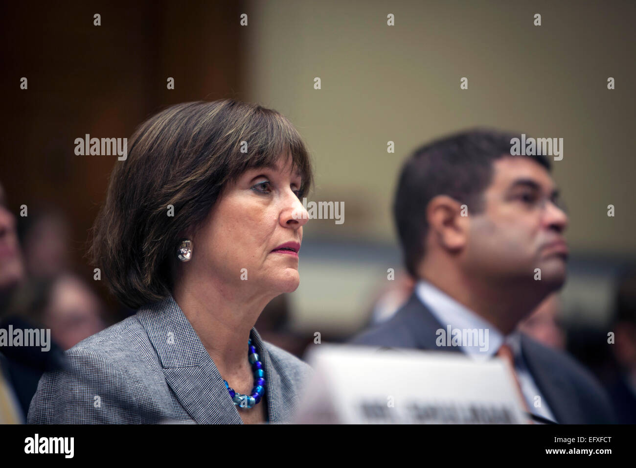 Director of the IRS Exempt Organizations division Lois Lerner testifies at the House Oversight and Government Reform - Stock Image