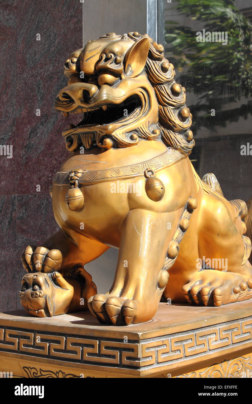 Chinese Imperial Lion Statue Symbol Of Protection Power In Stock